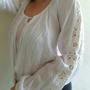 Beautiful Peasant Top with Lace Details