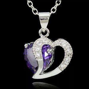 Jewelry - Sterling Silver Purple Austrian Crystal Heart