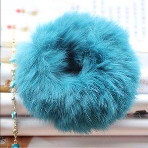 HPREAL Rabbit Fur Pom Pom Spring Pastel Hair Tie