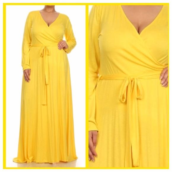 Yellow Plus Size Maxi Dress