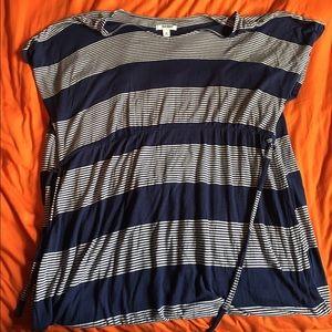 NBW | Blue/White Striped Maxi Dress, 2X