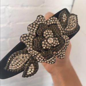 Crystal covered flower motif headband