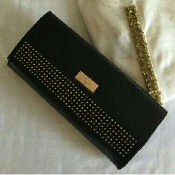 BCBG Black Studded Clutch Bag