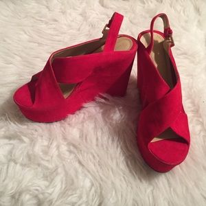 Forever 21 red velvet wedges