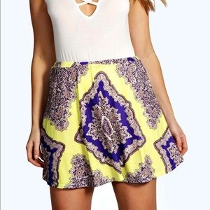 Boohoo Plus Dresses & Skirts - Boohoo neon printed skater skirt