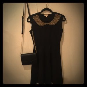 Black Maison Jules dress with beaded collar