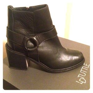 LD Tuttle black leather bootie.