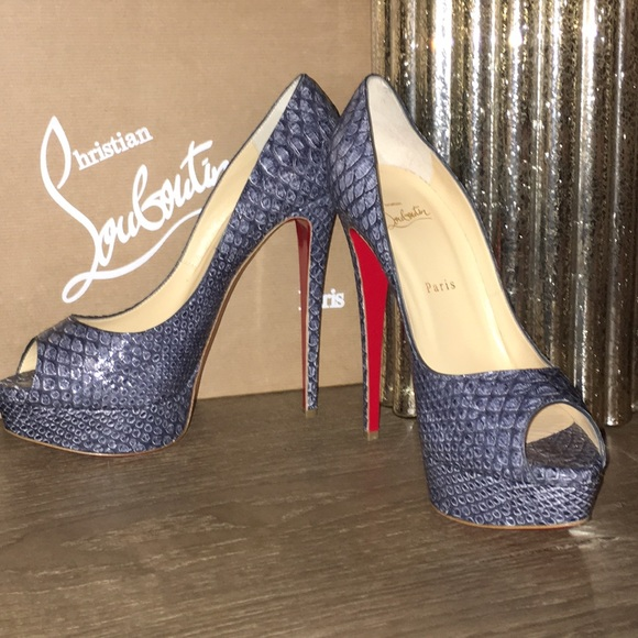 uk availability ae4dd 85946 Christian Louboutin lady peep python denim