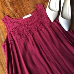 Maroon high low blouse