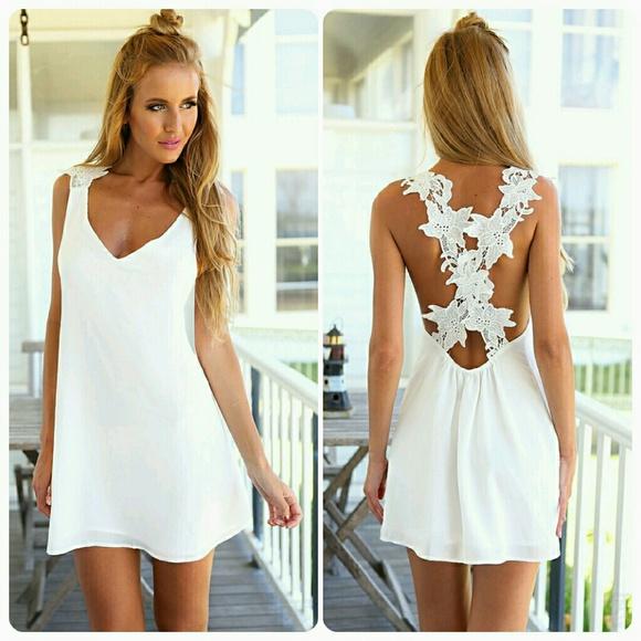 54ca15da527af1 Dresses | White Lace Crisscross Back Sleeveless Mini Dress | Poshmark