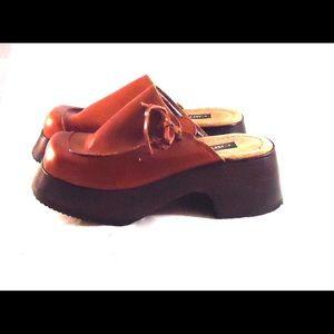 76aedcdaa33 Candies Shoes - Vintage Clogs Wood Platform Wedge Heel Leather 7