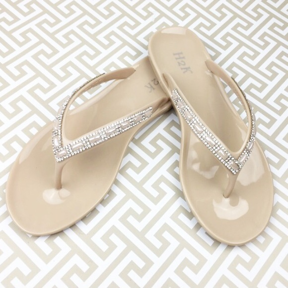 42a8f03b08ed0 Beige Nude Jelly Flip Flops Gems Sparkle