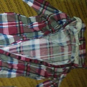 Plaid collared button down dress