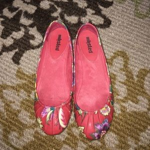 Red floral flats