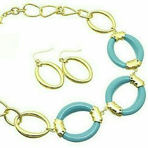 Bold turquoise & gold link necklace set NWT