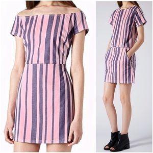 🆕 TOPSHOP denim stripe moto skirt mini skirt pink
