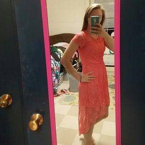 Urban Rose Dresses - Pink High-Low Lace Dress ec7b49e71