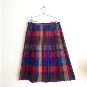 Vintage Rainbow Plaid Pleated Skirt