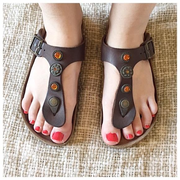 2641bf3839f4b3 Birkenstock Shoes - Birkenstock Gizeh Studded Jewel Gladiators
