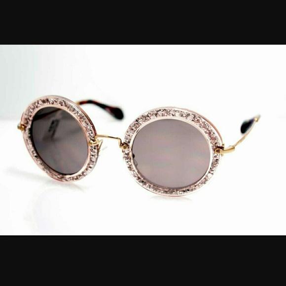 a0c889e0e5c2 Miu Miu pink glitter sunglasses