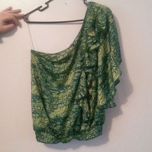 Green one shoulder ruffled top Charlotte Russe