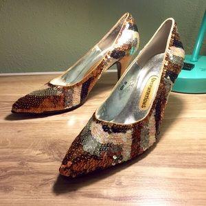 Vintage Sequined Heels
