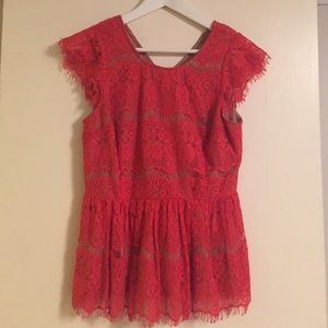 Anthropologie Red Lace Peplum Top