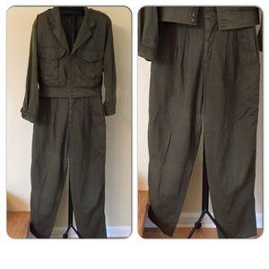 Jacket (L) Pants (sz 14) Army green 100% cotton.