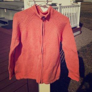 Orange Zip Up Sweater