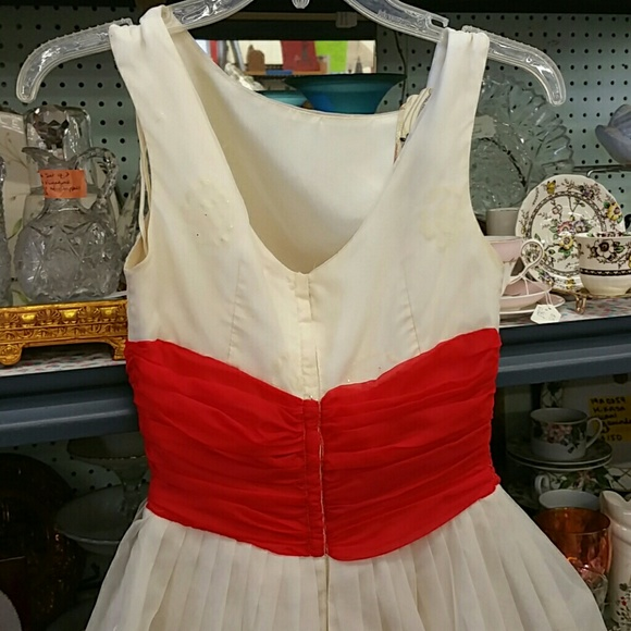 Vintage Dresses - Vintage Cream and Red Prom Dress