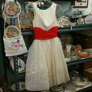 Vintage Dresses & Skirts - Vintage Cream and Red Prom Dress