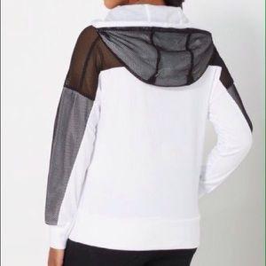 Rue21 Sweaters - 🆕White Hoodie Sweatshirt Fishnet Mesh Sleeves Med