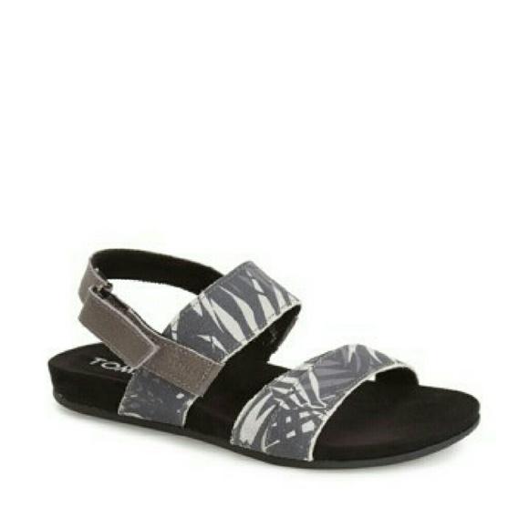 2d0f19b4fa9 Toms Palms Print Suede Tierra Sandals Size 6 - New