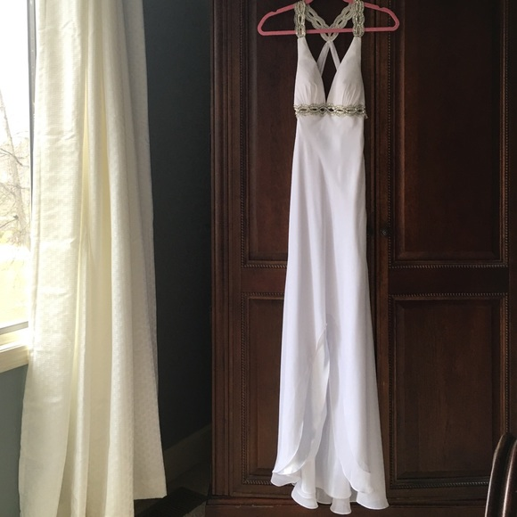 Faviana Dresses | White Goddess Prom Dress | Poshmark