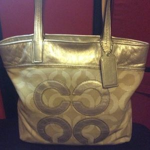 RARE METALLIC LARGE COACH TOTE