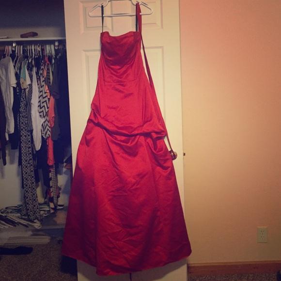 Alfred Angelo Dresses | Scarlet Red Strapless Prom Dress | Poshmark