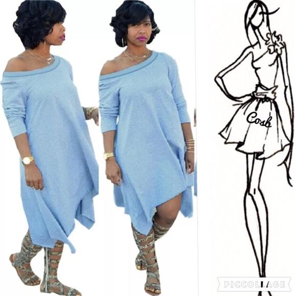 Cosb Dresses Diva Plus Light Blue Asymmetrical Dresslong Top