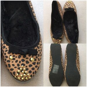 Cheetah Print with Gold Studded Detailed Flats