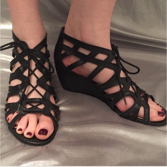 df854bf6a1f8 Crown vintage Shoes - Black gladiator lace up wedge sandals