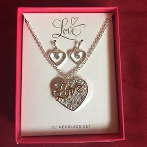 Love heart pendant necklace & dangle set 1 of 3
