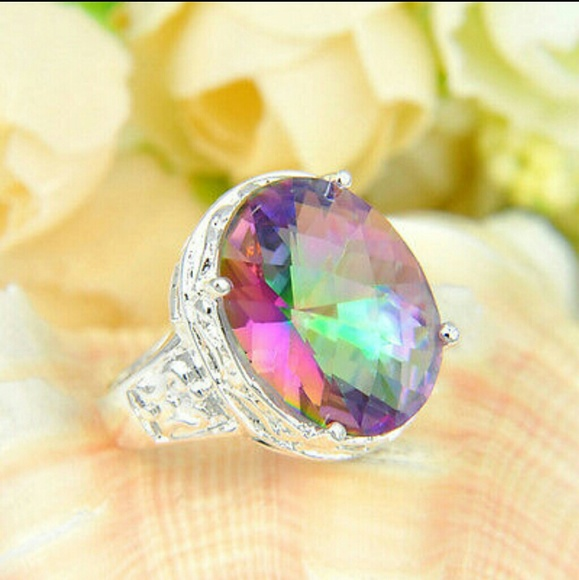 gold rings dp natural mystic topaz emerald ring carats com diamonds halo octagon diamond amazon white wide