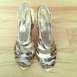 BCBGirls Shoes - Gold and faux snakeskin heels