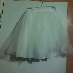 White High Waist Gauze Skater Skirt