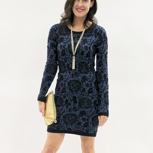 Forever 21 Dresses & Skirts - Forever 21 Blue Brocade Sweater Dress
