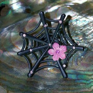 Betsey Johnson crystal spider web flower ring