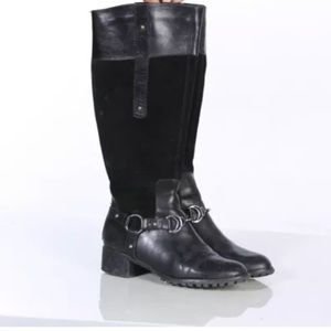 Etienne Aigner Viola Black Suede and Leather Boot