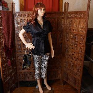 BCBG Max Azria black short sleeve blouse