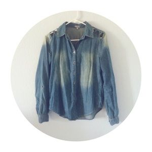 NEW Chambray Cut-Out Button Up Shirt