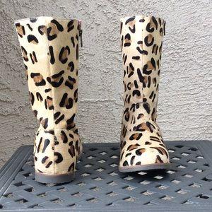 Mini Boden Shoes Leo Leopard Print Calf Hair Boots