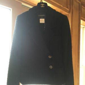 Authentic Chanel blazer classic tweed black Jacket
